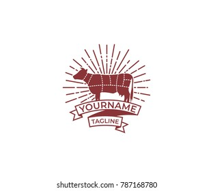 Cow Silhouette and Diagram for Butcher Shop Vintage Logo Template. Cattle Vector Design. Livestock Illustration