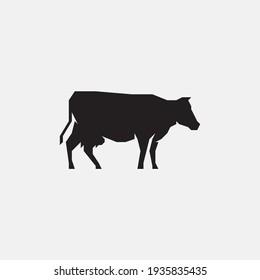 Cow silhouette icon. Cow logo.
