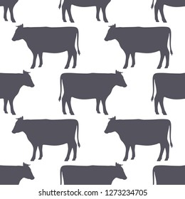 Cow silhouette seamless pattern. Beef meat. Background for food packaging or butcher shop design. Vector illustration
