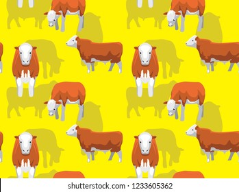 Cow Simmental Cartoon Background Seamless Wallpaper