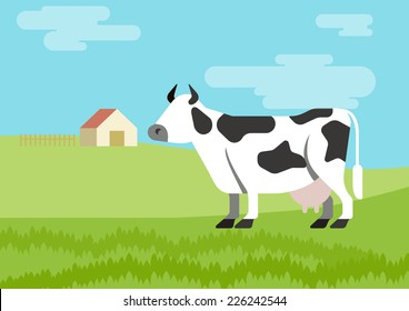 Cow spotted farm habitat background flat design cartoon vector animals. Flat zoo nature children collection.