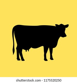 Cow vector icon illustration isolated on yellow background