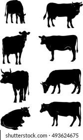 cow, vector, silhouette, animals, design
