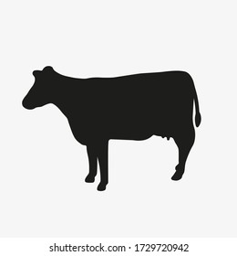 Cow vector silhouette. Cattle, lifestock, beef meat icon. Simple vector illustration of cow isolated on white background.
