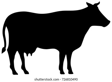 Cow vector silhouette isolated on white background