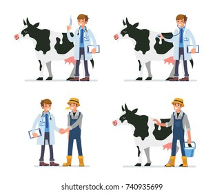 Cow veterinarian character and farmer. Animal vaccination and veterinary examination concept. Flat style illustration isolated on white background.