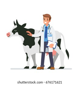 Cow veterinarian character. Flat style vector illustration isolated on white background.