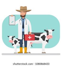 Cow veterinarian checking disease pets and animals inside farm.  vector illustration cartoon character