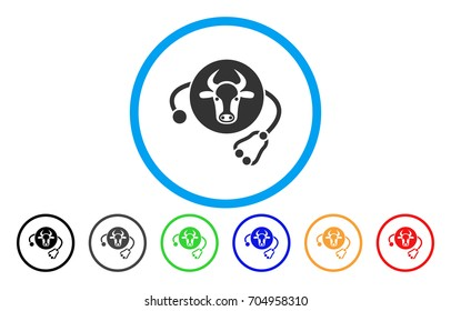 Cow Veterinary vector rounded icon. Image style is a flat gray icon symbol inside a blue circle. Bonus color variants are grey, black, blue, green, red, orange.