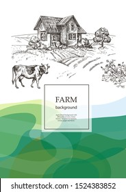 Cow and village house. Agricultural brochure layout design. An example of a backdrop for cattle farm. Vintage graphics. Vector background with wavy green patterns.