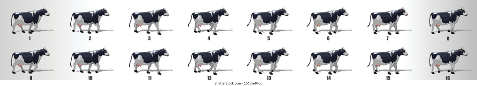 Cow walk cycle animation frames, loop animation sequence sprite sheet