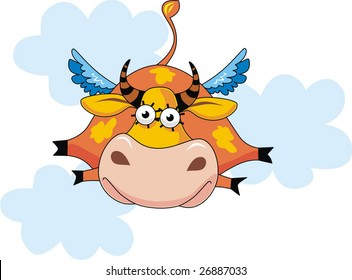 At a cow wings have grown and it flies on the sky.