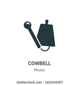 Cowbell glyph icon vector on white background. Flat vector cowbell icon symbol sign from modern music and multimedia collection for mobile concept and web apps design.