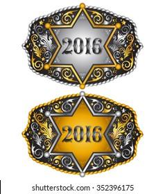 Cowboy 2016 year sheriff badge belt buckle design, 2016 western emblem
