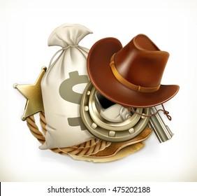Cowboy Adventure. Game logo. 3d vector emblem