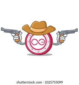 Cowboy Aeternity coin character cartoon