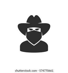 Cowboy bandana. Bandit icon
