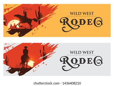 Cowboy banners, Rodeo cowboy riding horse, Vector Illustration