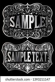 Cowboy Belt Buckle emblem label vector design
