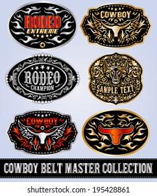 Cowboy belt buckle vector master collection set design