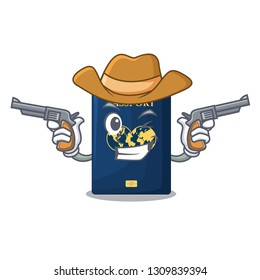 Cowboy blue passport in the cartoon form