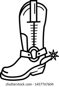Cowboy boot icon in outline style. Coloring template for modification and customizing  according to a specific task.