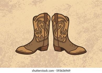 Cowboy Boot Vintage Vector