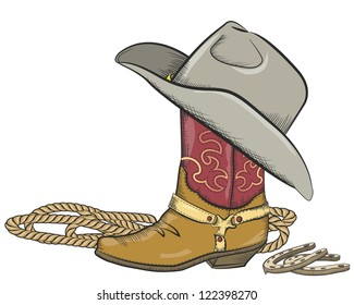 Cowboy boot with western hat isolated
