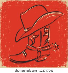 Cowboy boot and western hat .Scetch illustration on red background