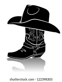 Cowboy boot and western hat.Black graphic image on white background