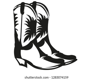 Cowboy boots in black and white
