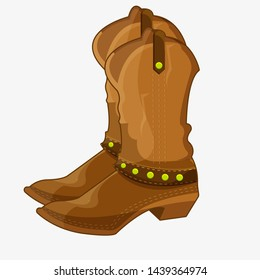Cowboy boots in cartoon style