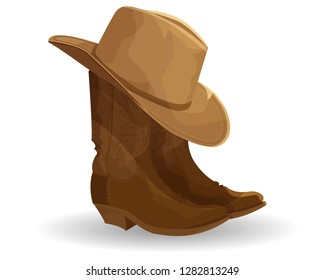 Cowboy boots and hat isolated on white.