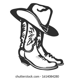 Cowboy boots and hat. Vector graphic hand drawn illustration isolated on white for print or design