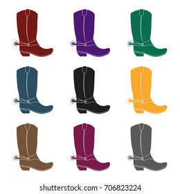 Cowboy boots icon in black style isolated on white background. Rodeo symbol stock vector illustration.