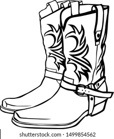 Cowboy boots with a pattern and buckles.  Vector graphic isolated image.