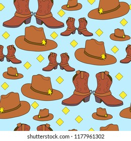 cowboy boots western hat brown and blue seamless vector pattern design