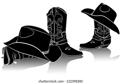 cowboy boots and western hats.Black graphic image on white
