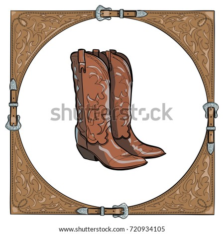 Cowboy Boots Western Leather Frame On Stock Vector (Royalty Free ...