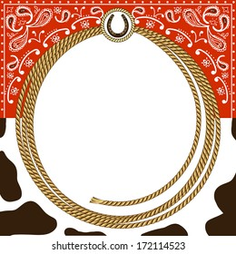 cowboy card background with rope frame and western decoration.Vector illustration for design