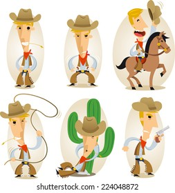 Cowboy cartoon action set