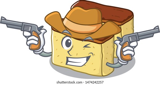 Cowboy castella cake isolated in the cartoon