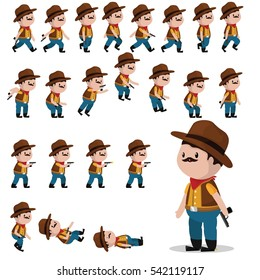 Cowboy character sprites for games. Animation cowboy walks, falls, jumps, shoots.