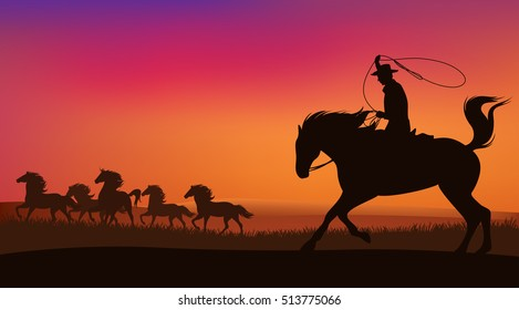 cowboy chasing the herd of mustang horses at sunset - wild west landscape vector