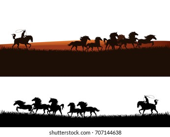 cowboy chasing the herd of mustang horses - wild west vector silhouette panoramic design