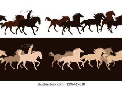 cowboy chasing a herd of wild mustang horses - horizontally seamless vector border design