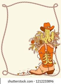 Cowboy Christmas boot and wnter holiday elements.Vector color hand drawn shoe illustration with lasso frame for text