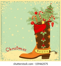 Cowboy Christmas card with boot and winter holiday elements