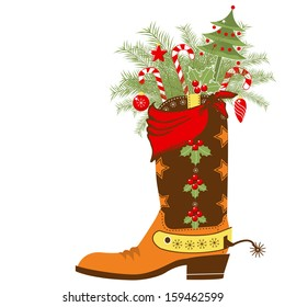Cowboy Christmas card with boot and winter holiday elements.Vector shoe isolated on white background