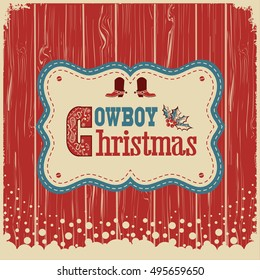 Cowboy christmas card with text on wood board.Vector western american illustration background